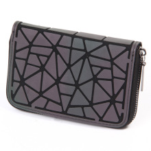 2018 Women Short clutch Luminous wallet Diamond lattice standard zippe