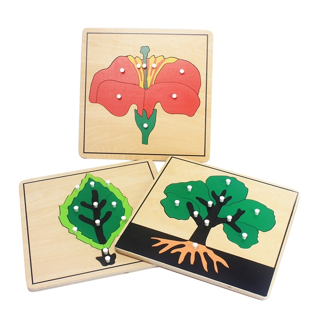 Baby Montessori Materials Wooden Puzzles Educational Toys Plant Growth Panel Wood Toy Learning Tangram/Jigsaw Toddlers Preschool 1