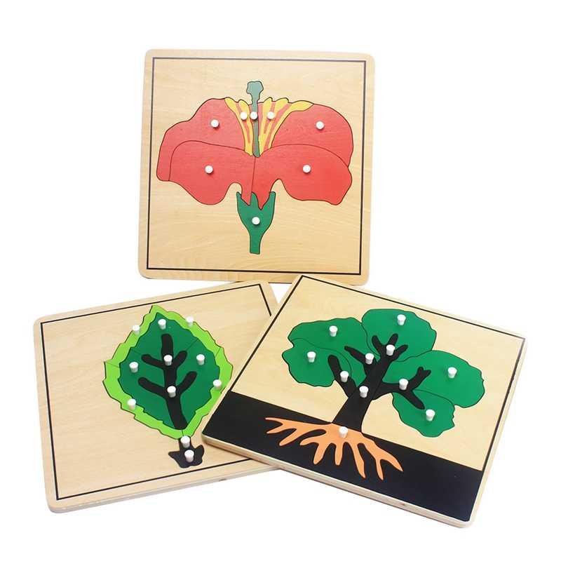 赤ちゃんモンテッソーリ材の木製パズル知育玩具植物成長パネル木