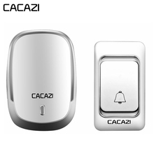CACAZI Wireless Doorbell DC battery operated Control Button 200M Remote LED Ligh