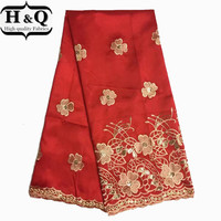 Fashion Red Raw Silk African George lace fabric Nigerian Style George Lace Flower Embroidered for WEDDING DRESS/party dress