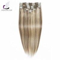 SHENLONG HAIR 100 Remy Straight Human Peruvian Hair Weaving P14 22 9pcs Set Mixed Color Clip