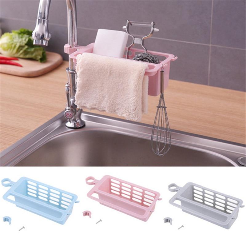 Home Kitchen Clip-on Faucet Racks Sponge Rag Plastic Drain Shelf Sink Hanging Storage Box