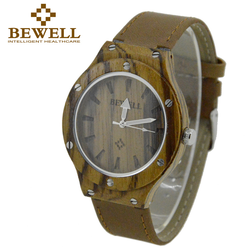 BEWELL Watch Men Leather-Band Quartz Gifts Wood Luxury Relogio Case Box Feminino Top-Brand