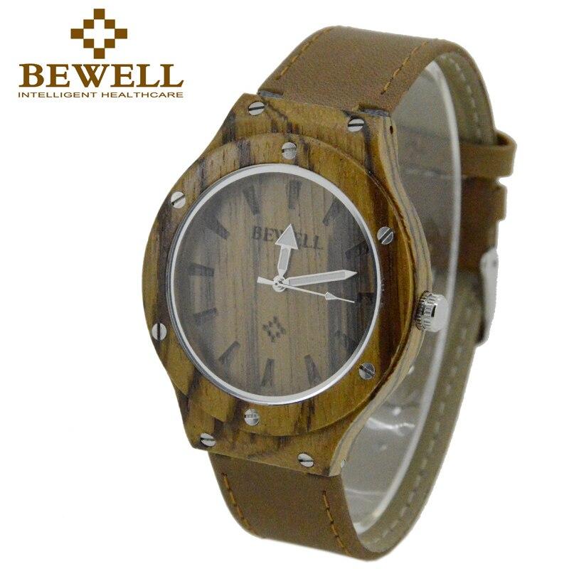 BEWELL Watch Men Quartz Wristwatch Wood Case Leather Band Luxury Top Brand 2016 Women Watches Relogio Feminino Gifts Box 121A  цена
