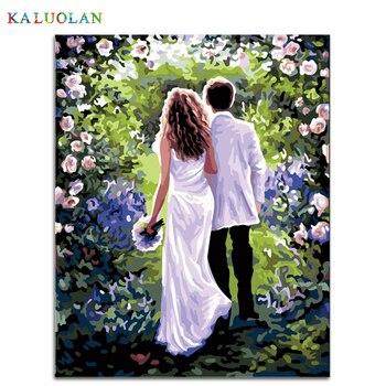 Frameless 벽 그림 번호로 그림 캔버스 회화 홈 장식 페인트 번호 웨딩 장식 40*50 cm b231
