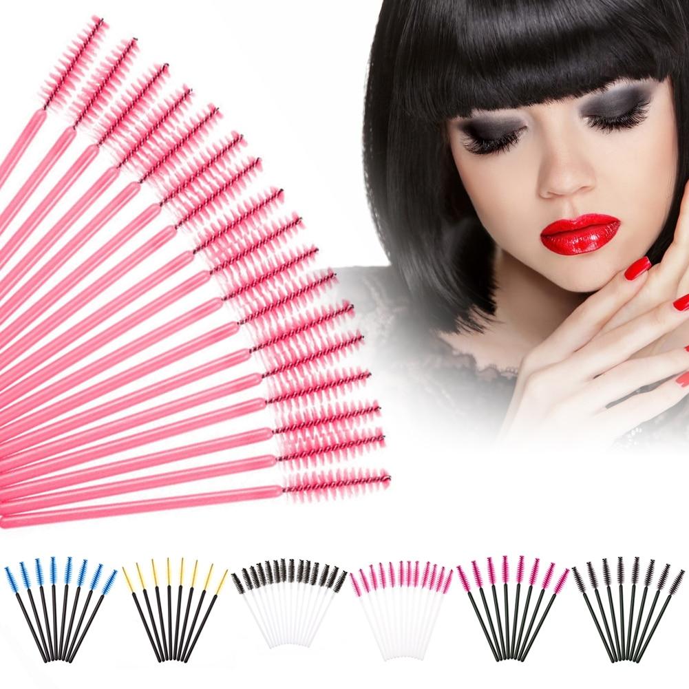 50Pcs/Pack Disposable Eyelash Brushes Mascara Wands Applicator Wand Brushes Eyelash Comb Brushes Spoolers Makeup Tool Kit durability disposable feather microtome blades