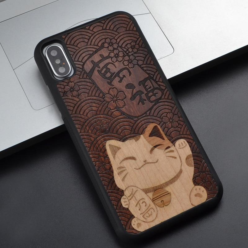Animais Sorte gato bonito Para Samsung Nota 8 Para O Iphone 8 7 6 S além de X Para Huawei P10 Plus Para Sony z 4 5 Caixa Do Telefone de Madeira