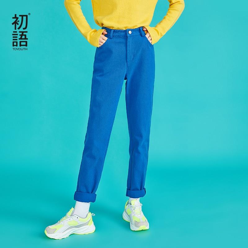 Toyouth повседневные брюки из хлопка Для женщин однотонные хлопковые прямые брюки дамы Harajuku узкие брюки-карго брюки Pantalon Mujer