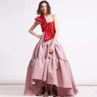 High Street Fashion Lange Rok Chic Twee Tone Geplooide Satijn Maxi Rok Extra Puffy Prom Party Gown 2018 Lente Amerikaanse Apparel