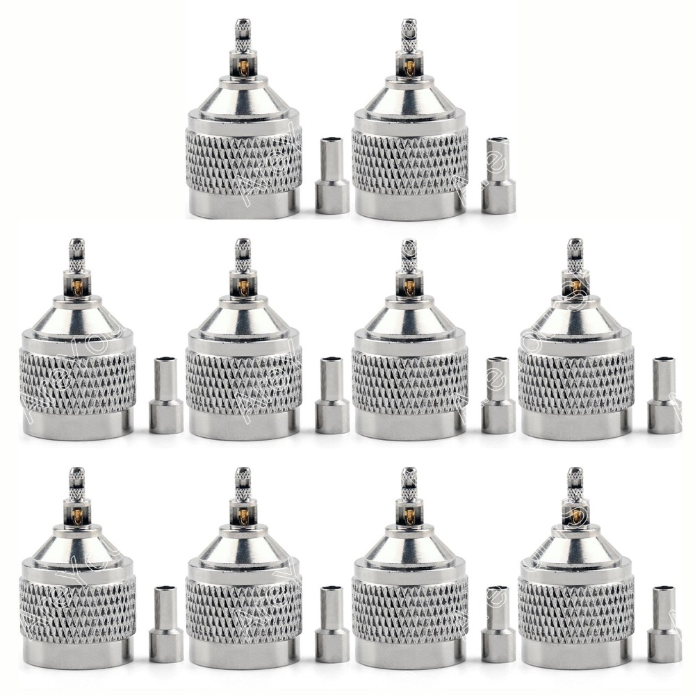 Areyourshop Sale 10 Pcs Mini Jack Plug  Connector N Male Plug Crimp for RF Coaxial Cable RG174 RG316 sale high quality 10pcs rf antenna catv tv fm coaxial cable pal male jack plug adapter connector mini plug jack