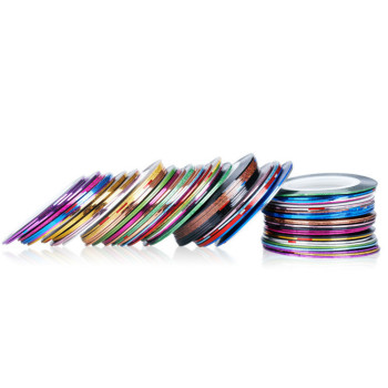 Wholesale 3000pcs Nail Art Striping Tape New 50 Colors Laser Painting Nail Line With Nail Sticker Matte Metallic Yarn Line Strip