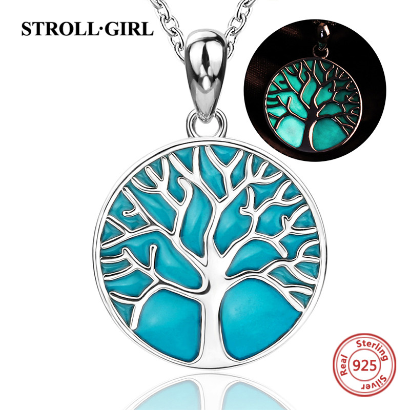 Sterling silver 925 tree of life pendant chain necklace with glowing enamel diy European fashion jewelry making for women gifts цена