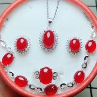 jewelry sets natural green jade medullary 925 silver pendant bracelet earrings ring women party jewelry
