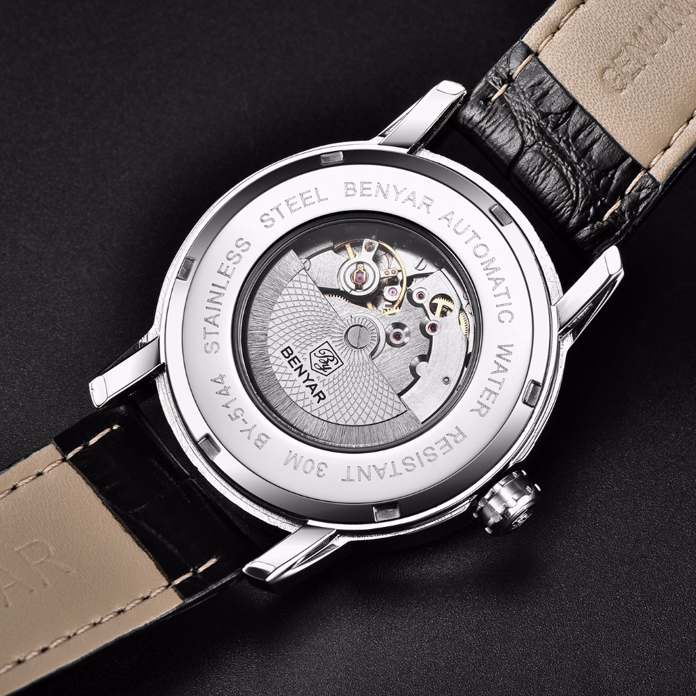 Relogio Masculino BENYAR 2018 New Fashion Top Luxury Brand Leather Watch Automatic Men Wristwatch Men Mechanical Steel Watches