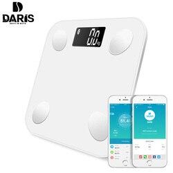 DARIS Bluetooth Digital peso Báscula de baño inteligente con pantalla retroiluminada escala para cuerpo peso de grasa corporal agua masa muscular IMC