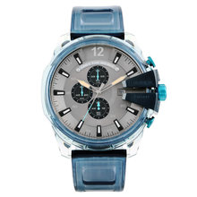 Diesel CHIEF series three eye timing blue translucent watch band quartz male Watch DZ4487(China)