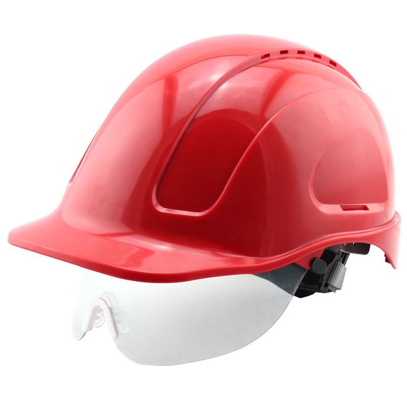 Safety Helmet With Transparent PC glasses Hard Hat ABS Construction Protective Helmets Work Cap Engineering Power Rescue Helmet building safety helmet abs protective glasses capacete hard hat construction working building safety helmet ntc 3