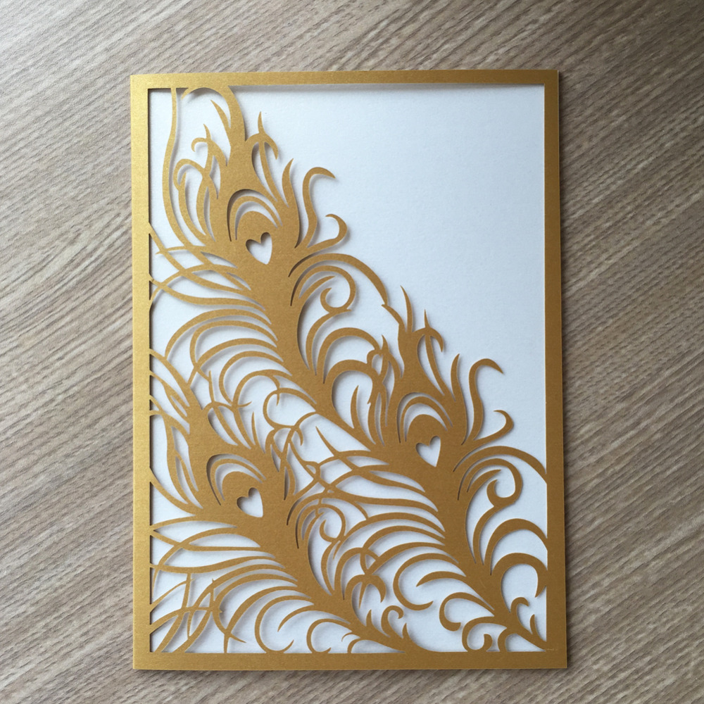 30pcs New Arrival Unique Feather Design Laser Cut Wedding