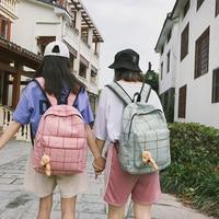 Street Trend Schoolbag Fashion Harajuku Ulzzang Plaid Canvas Backpack Travel Teen Backpack Mochilas Knapsack Women Backpack