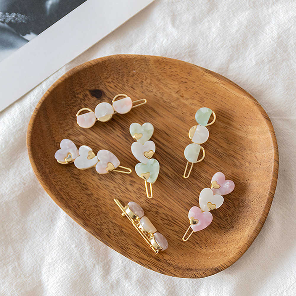 1pcs Cute Acetic Acid Love Heart Round Hairpins Metal Macaron Color Hair Clips Hair Accessories Women Girls Hair Styling Tools