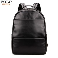 VICUNA POLO Simple Solid Black Men Leather Backpack Preppy Style Casual School Backpack For Boy Waterproof