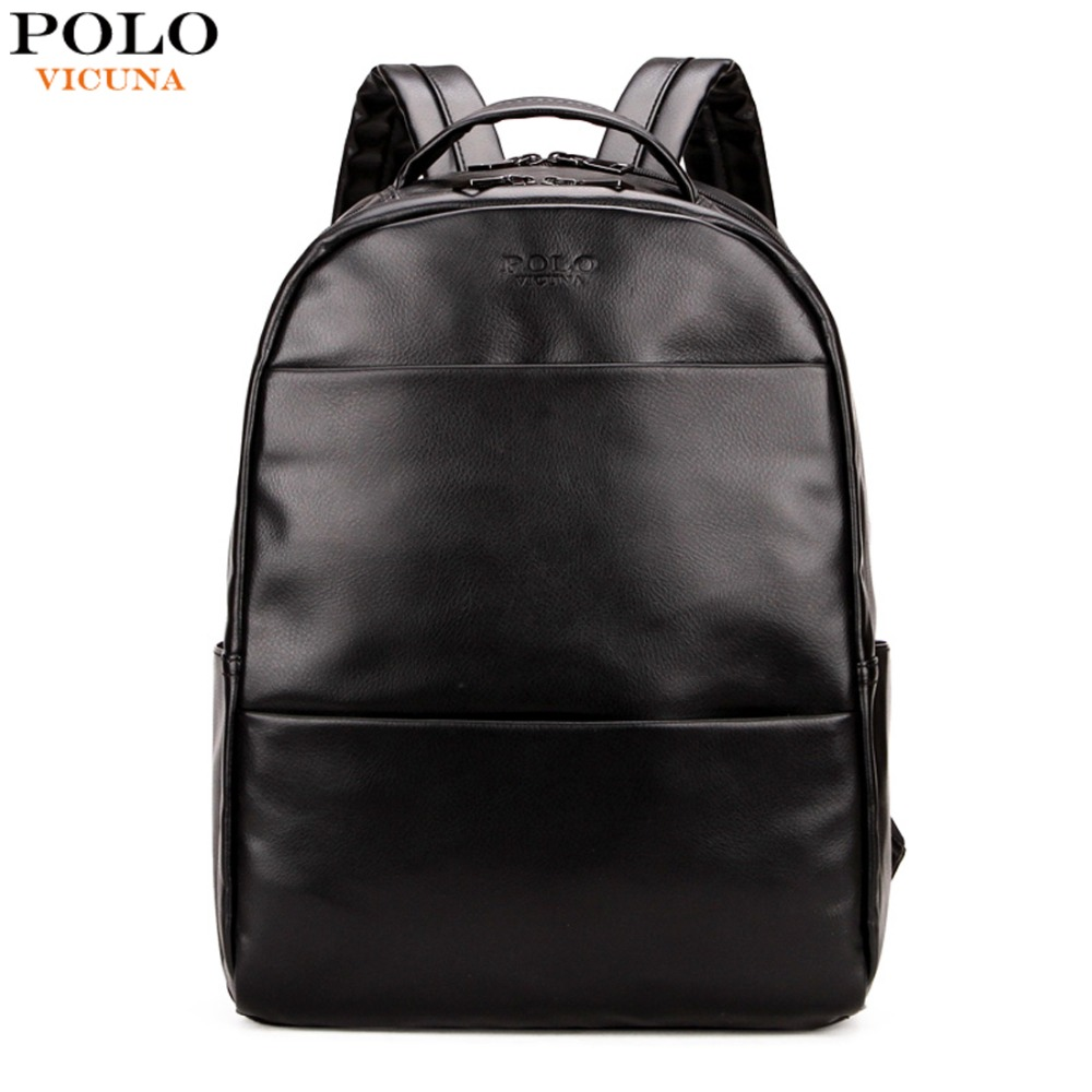 VICUNA POLO Simple Solid Black Men Leather Backpack Preppy Style Casual School Backpack For Boy Waterproof Mens Travel Back Pack waterproof fashion simple men backpack
