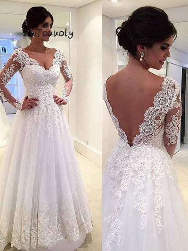 Vintage Backless Boho Wedding Dress A Line V Neck Lace Long Sleeves Appliques Beach Wedding Dresses 2019 Trajes De Novia Grecian
