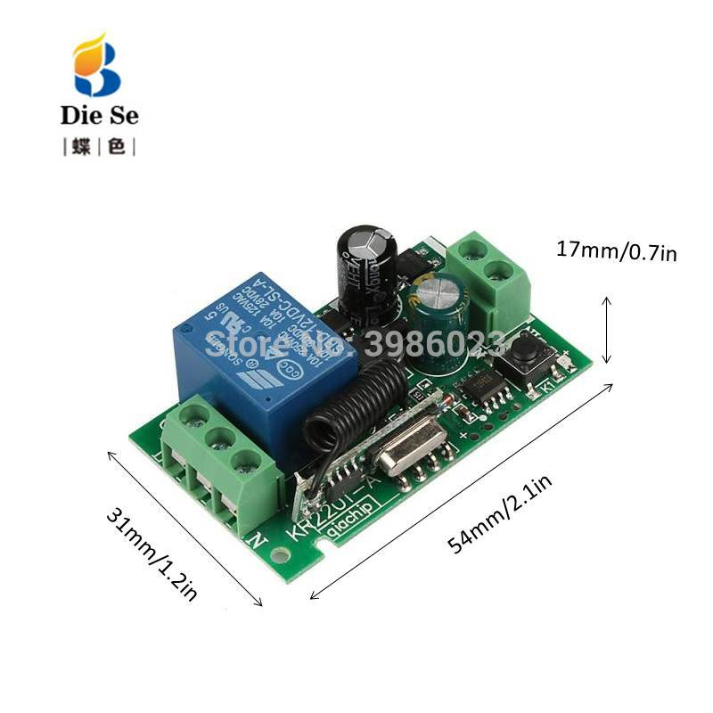 Wireless Remote Control 433MHz Universal AC 110V 220V 1 Channel Relay Receiver Module for Circuit Control Light Garage door Fan