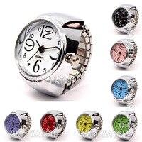 Шт. 100 шт. оптовая продажа для женщин девушка мода нержавеющая сталь Эластичный кварцевые палец кольцо часы модные аксессуары