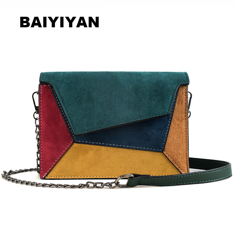 New Women's Patchwork Shoulder Bag Chain Color Crossbody Bag PU Leather Small Hasp Handbag Ladies Messenger Bag