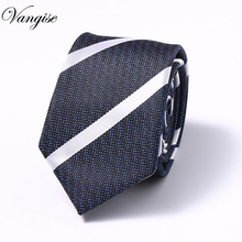 High-grade New fashion Blue Black white tie men 7.5 cm slim office group necktie fit wedding party for corbatas