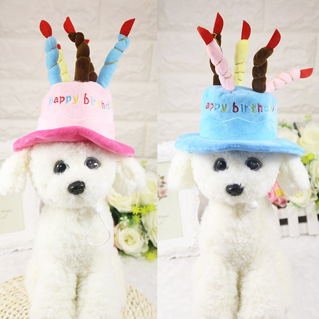 Pet Dog Birthday Caps For Small Dogs Cat Hat With Cake Candles Party Costume Headwear Goods Gifts Supplies Chihuahua 10