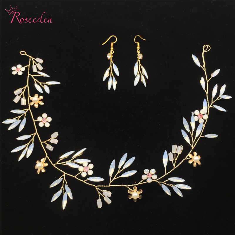 Handmade Wedding Hair Accessories Bridal Headband opal crystal Willow branches shape Head Piece with earrings  RE745