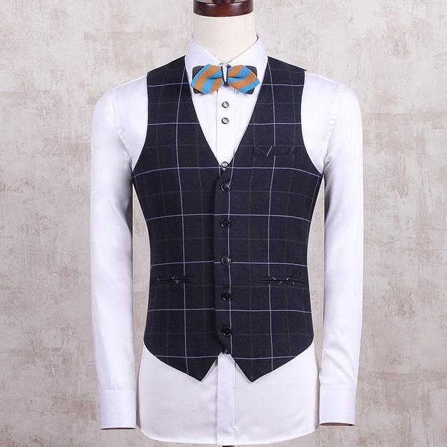 Mens Plaid Suit Chaquetas Sin Mangas Del Chaleco Delgado Elegante Chaleco Otoño Chaleco Clásico Para Hombres Botones De Ropa De Diseñador