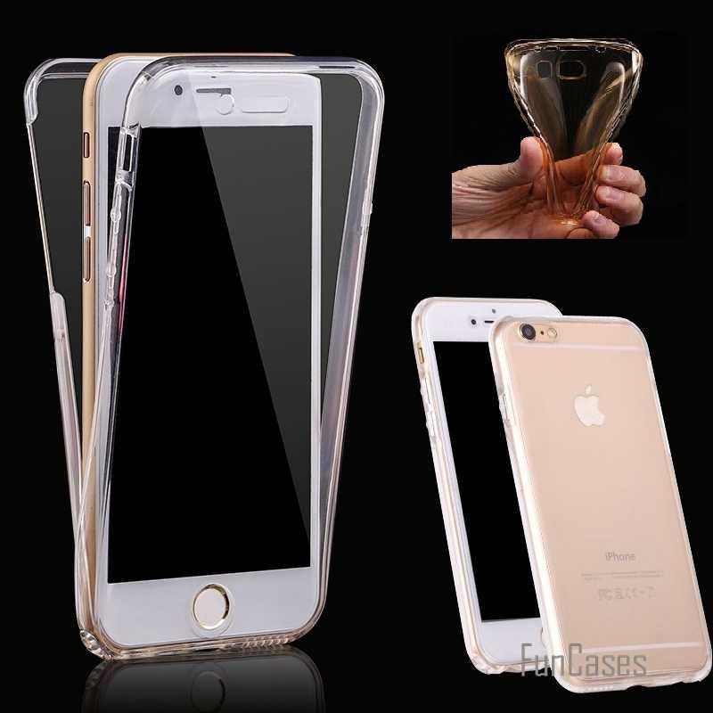 Per il caso di iPhone 7 7 Più 6 6S Plu 5 5S SE (Anteriore + Posteriore Della Copertura Del Gel serie), anti-bussare Antiurto TPU 360 gradi di Cristallo Molle