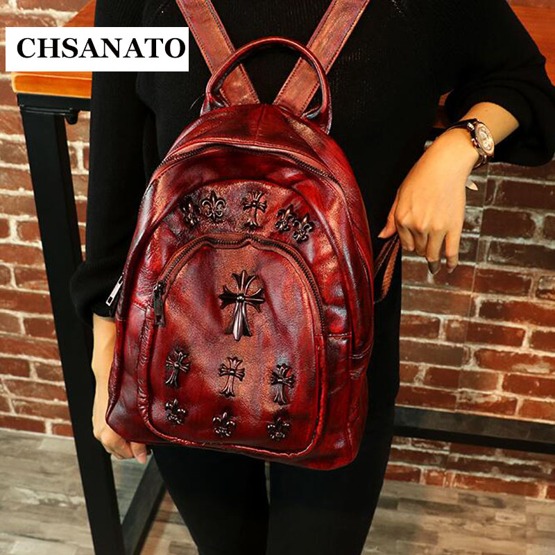 CHSANATO Women Genuine Cow Leather Bag High Quality Women Backpack Mochila Feminina School Bag For Teenagers Girls Backpack weave backpack women genuine leather bag women bag cow leather women backpack mochila feminina school bags for teenagers li 1390