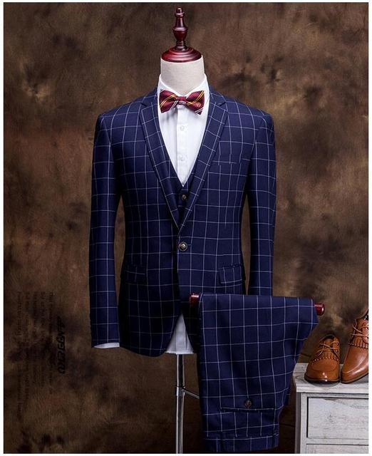 2016 Plaid Mens Suits Fashion Formal 2016 Men 3 Piece Wedding Suit ...