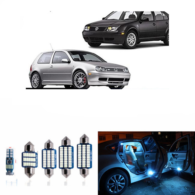 15pcs Canbus LED Bulb For 1999-2004 Volkswagen VW MK4 Golf 4 GTI LED Interior Lights Accessories Replacement Package Kit White cawanerl car canbus led package kit 2835 smd white interior dome map cargo license plate light for audi tt tts 8j 2007 2012