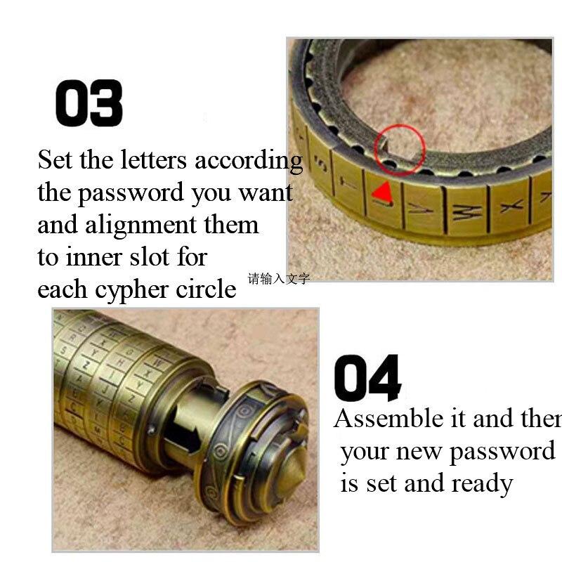 Leonardo Da Vinci Code cylindre Puzzle serrure alliage Zinc Cryptex saint valentin romantique anniversaire cadeaux évasion chambre accessoires - 4