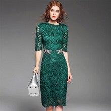Summer Women's Fashion High Quality Designing Half Sleeve Dragonfly Beading Green Lace Dress Slim Straight Dresses