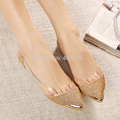 New Arrival Korean Fashion Women's Casual glitter Print Metal Decorative Pointed Toe Flats Shoes 35-40 drop shipping