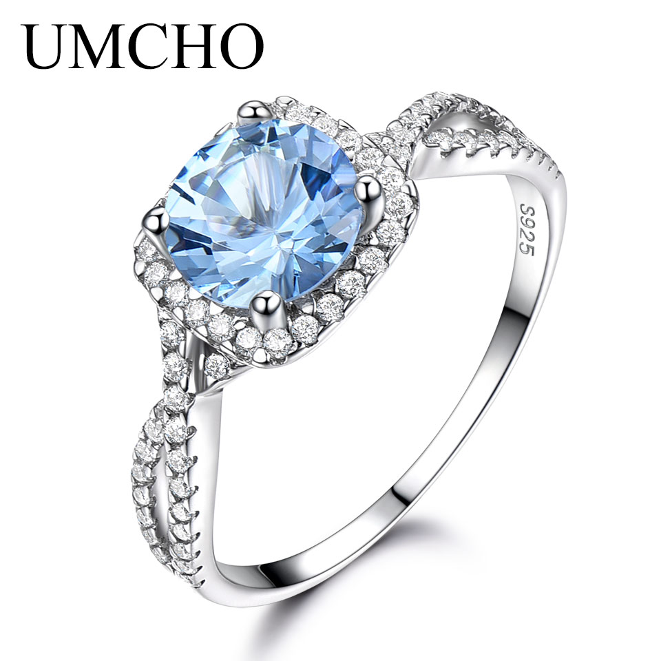UMCHO Solid 925 Sterling Silver Rings For Women Sky Blue Topaz Aquamarine Gemstone Wedding Band Birthstone Party Gift Jewelry