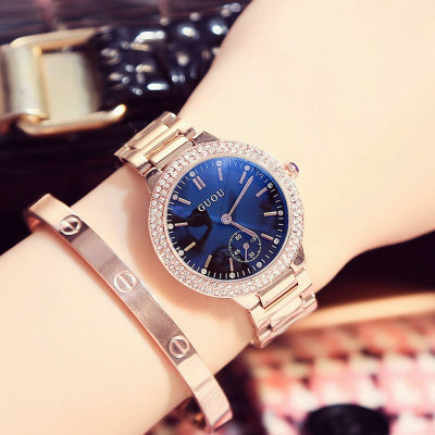 Hot GUOU Brand Luxury full stainless steel Watch Women Fashion Casual quartz Watches crystal Dress Wristwatch waterproof Relogio new luxury brand dqg crystal rosy gold casual quartz watch women stainless steel dress watches relogio feminino clock hot sale