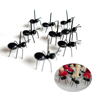 12pcs/lot Ant Shape Fruit Fork Snack Cake Dessert Pick Tableware for Home Kitchen Party Dinner Fruit Pick Kitchen accesories(China)
