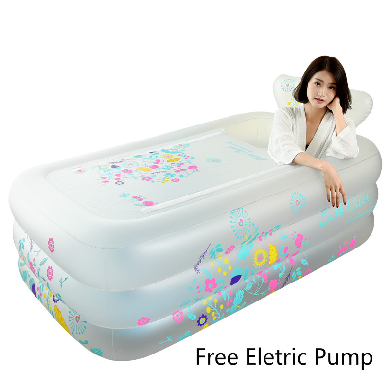 New Thickening Inflatable PVC Bathtub Adult Children Foldable Family Swimming Tub With Lid Pool 160x90x52cm Winter