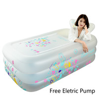 New Thickening Inflatable PVC Bathtub Adult Children Foldable Family Swimming Tub With Lid Pool 160x90x52cm Winter Summer