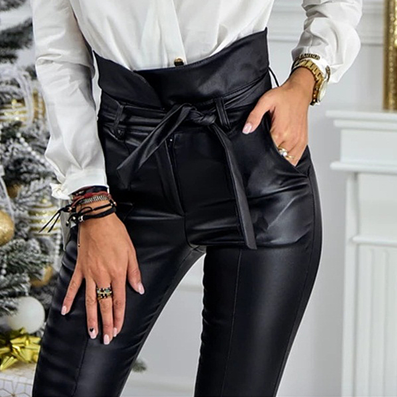 InstaHot Gold Black Belt High Waist Pencil Pant Women Faux Leather PU Sashes Long Trousers Casual Sexy Exclusive Design Fashion 14