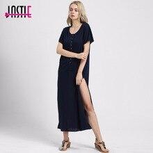 Jastie marrakesh платье О-образным вырезом пуговицами Длинный разрез на каждой стороне Макси платья свободные пляжные Повседневное стилей Для женщин Vestidos 8200