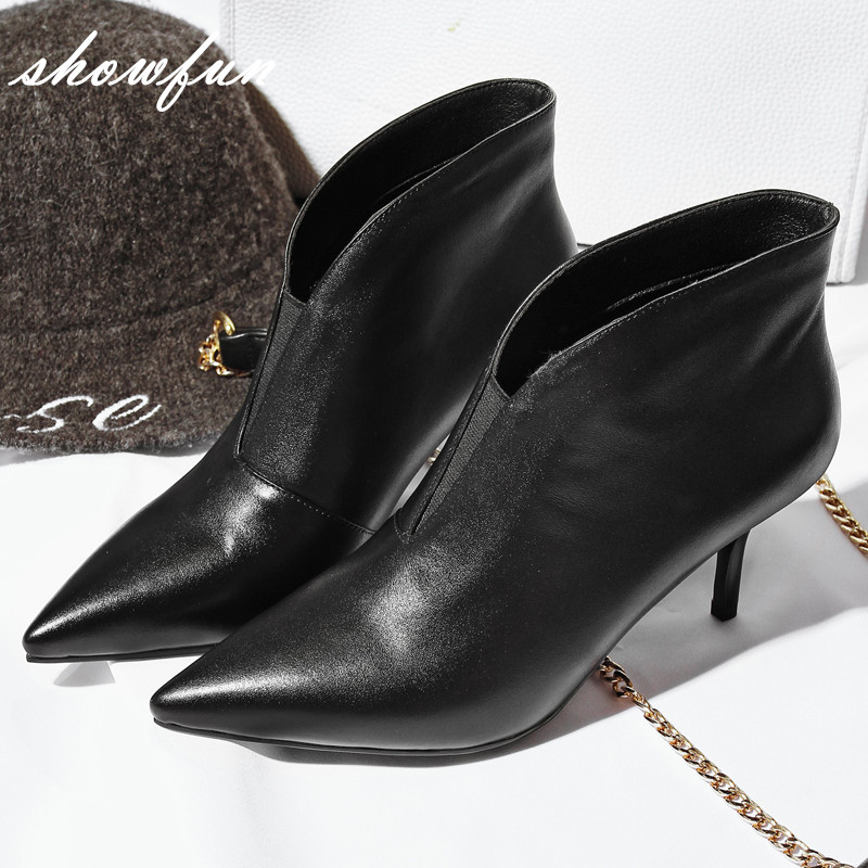 Women s Real Leather Sexy Ladies Med Heel Pointed Toe Slip on Autumn Ankle Boots Brand